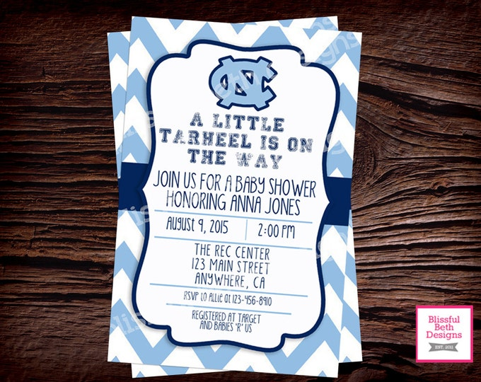 Tar Heel Baby Shower, Tar Heel Baby Shower Invite, Tar Heel Shower Invite, Tar Heel Shower, Tar Heel Baby Shower