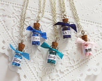 5 Tiny Name Necklaces Gift Personalized Wedding Jewelry Set, Message in a Bottle Will You be my Bridesmaid, Maid of Honor Bridal Shower Gift