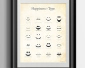 Happiness in Type Typography Print