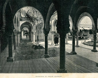 Antique Print Algerian Palace,  Exposition Universelle 1889, Steel Engraving
