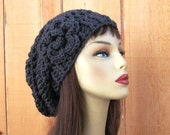 Gray Crochet Slouch Hat Dark Gray knit Beanie With Flower Crochet Grey Cap Charcoal Slouch Tam Grey Slouch Cap Dark Gray Tam Dark Grey beret