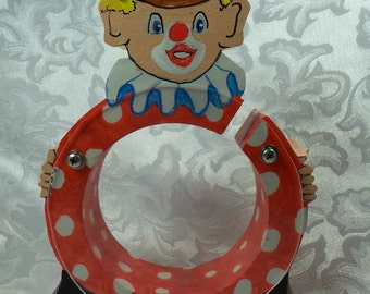 Clown Wooden Bank -Hand Painted Polka Dotted- Personalized Free