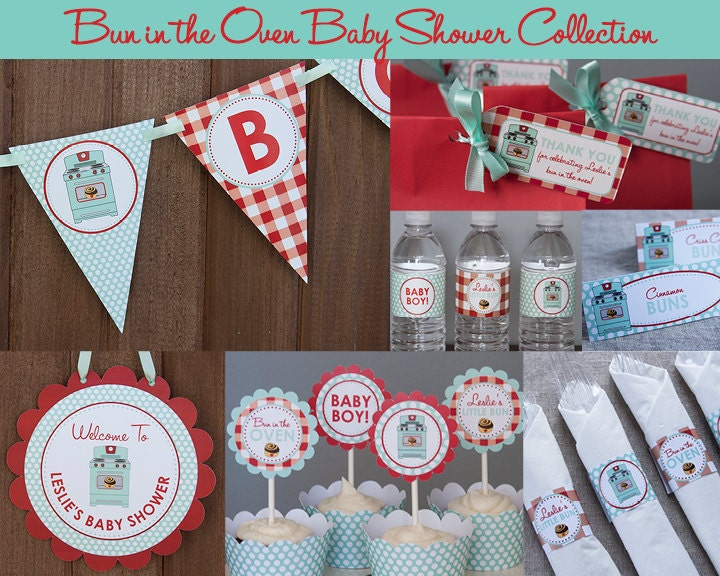 bun in the oven baby shower decorations by tangerinepapershoppe