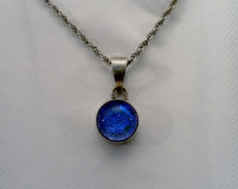 Vintage Iridescent Blue Silver Pendant w Chain.  Signed Sheri, Marked 925 Sterling.  13 mm Diameter Pendant, 24 In. Long Chain.