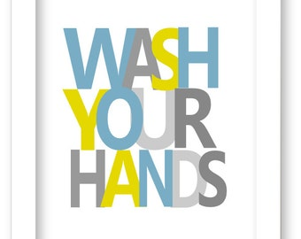 Printable Kids Bathroom Art Prints, Wash Your Hands, boys  bathroom wall art, blue bathroom wall decor