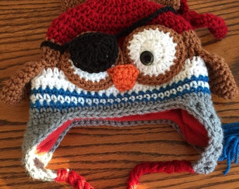 Crochet Pirate Owl Hat with Fleece Lining, Child Animal Hat, Pirate Hat, Crochet Baby Hat, Winter Hat, Baby Hat, Newborn Hat, Child Hat