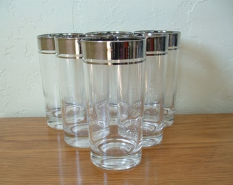 Vintage Silver Rim Silver Band Highball Glasses Set of 6 Tumblers Silver Stripe Mid Century Lustreware Lusterware