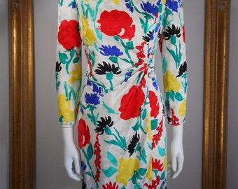 Vintage 1980's David Hayes Multi Color Floral Print Silk Dress - Size 4