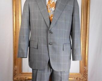 Vintage 1970's Botany 500 Grey Plaid Suit - Size 39 Short