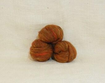 Needle felting wool batting in Foliage, wool batting, felting roving supplies, fleece batting in Foliage, orange wool, wool for spinning,