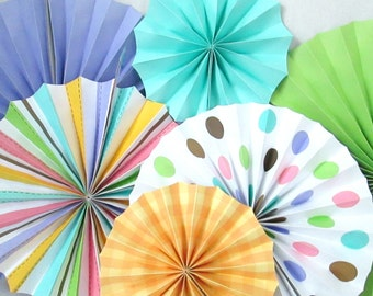 Hanging Fans Rosettes Table Backdrop Photo Background Hanging Pinwheels Party Decoration Birthday Decoration Baby Shower Polka Dot Favors