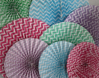 Hanging Paper Fans CLEARANCE Chevron Rosettes Chevron Hanging Pinwheels Party Decoration Banner Birthday Party Decoration Baby Shower