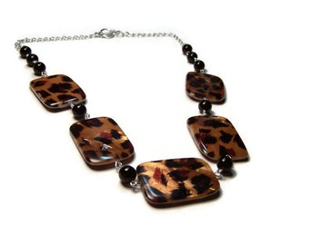 Leopard Shell Statement Necklace