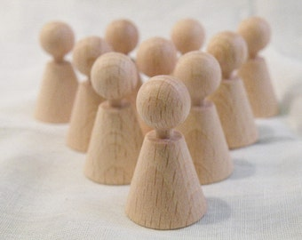 48mm tall - wide-cone shaped x 10 unfinished wooden peg dolls for crafting