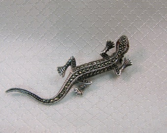 Vintage Sterling Gecko-Salamander with Ruby Eyes Brooch