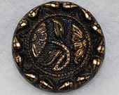 Vintage Black Glass Flower Button 3/4 inch 18mm Gold Luster Floral Sewing Button