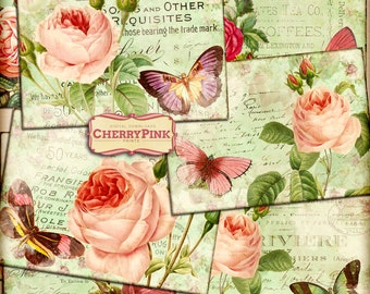 Rose collage sheet, 8 Rose ephemera designs, butterfly illustrations,  green shabby chic textured background, collage art Instant download