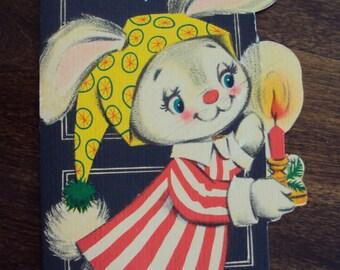 Vtg. Unused Card, Christmas Bunny