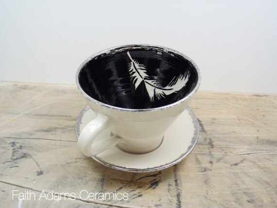 Feather White, Black and Silver Porcelain Tea Cup & Saucer or Mug-Christmas Gift, Wedding Gift