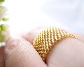 Beaded Gold Ring Band / Gold-lined Ring / For him and her / Classic / Elegant