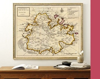 Antigua map  - Old map  of Antigua fine print