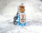 Mermaid Tears Bottle Necklace - Glass Bottle Cork Necklace - Potion Vial Charm - Blue Liquid Shimmer - Magic Spells Once Upon a Time