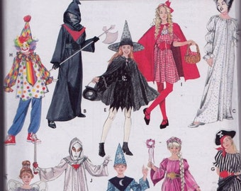 Simplicity 5934 Boys and Girls' Costumes Pattern, UNCUT, Size Small, Medium, Large, Clown, Witch, Riding Hood, Pirate, Ghost, Princess,Fairy