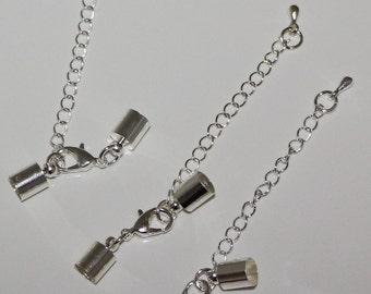 Silver tone Cord Ends with Lobster Claw Clasps and Chains  (3)