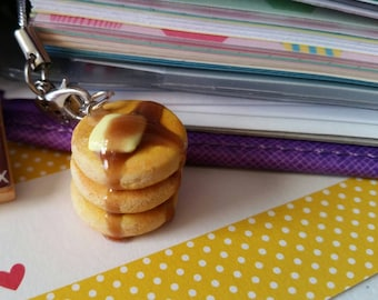 Miniature Stack Of Pancakes Made From Polymer Clay Pendant Charm For Necklace Or Planner
