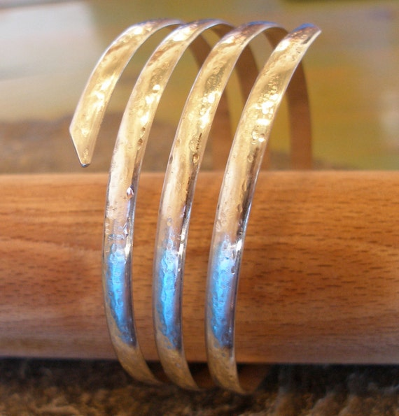 3, 4 or 5 Strand Silver Hammered Thick Spiral Curvy Bangle Cuff - wrap round sterling silver bangle with domed surface
