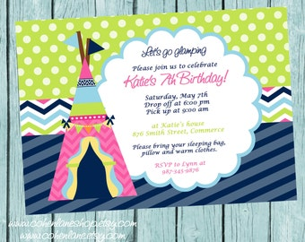 Printable Girls Glamping Birthday Party Invitation.  Girls Camping invite.  Glamping Party Invitation. Printable Invitation.