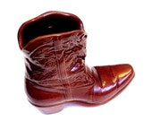 Frankoma Cowboy Boot, Ceramic Brown Cowgirl Boot Vase, Western Wall Pocket Planter, Home Decor  itsyourcountry