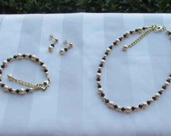Flower Girl Jewelry Gold Pearls and Dark Brown Crystals Bridal Jewelry Set