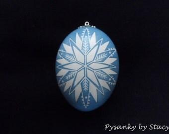Pysanky Christmas Snowflake Ornament Chicken Egg