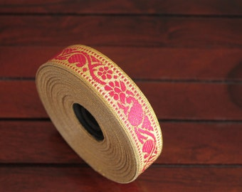 1 yard-Pink & Golden Jacquard Trims-Woven Ribbon-Decorative Art Quilts fabric trim-Designer Silk Saree Border Trim-Brocade Fabric Trim