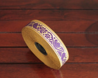 1 yard-Lilac & Golden Jacquard Trims-Woven Ribbon-Decorative Art Quilts fabric trim-Designer Silk Saree Border Trim-Brocade Fabric Trim