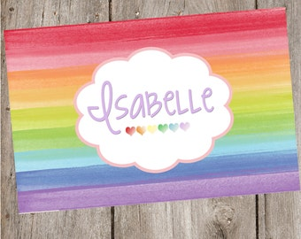 Rainbow Heart Personalized Placemat