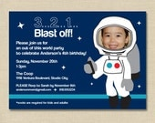 Astronaut Space Invitation, Space Themed Birthday Invitation, Boy Birthday Party, Printed Invitation or DIY Printable