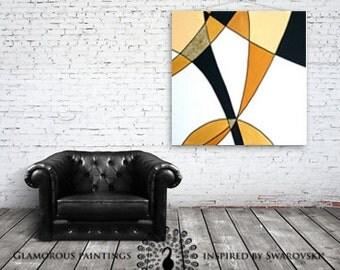 Golden painting. Golden abstract art. Golden home decor. Mustard yellow decor. Mustard yellow art. Geometric abstract art. Yellow home decor