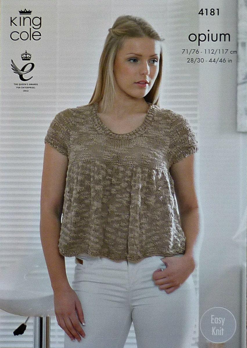 Womens knitting pattern k4181 ladies girls short sleeve for Pattern shirts for women