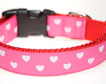 "Hearts - 1"" Adjustable Dog Collar"