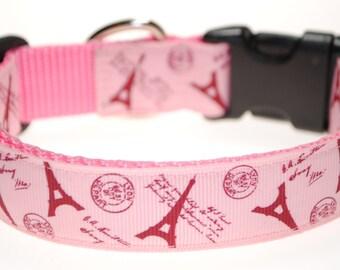 "Paris Pink 1"" Adjustable Dog Collar"