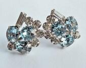 Rhinestone Earrings White and Pale Blue Vintage 60's Something Blue