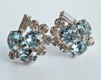 Rhinestone Earrings White and Pale Blue Vintage 60's Something Blue