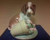 LLADRO GLOSSY PORCELAIN Dog Figurine 7672  It Wasn't Me In Original Box Retired Collectible Porcelain Gift Idea