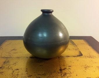 Oaxaco Pottery Squat Vase Jar Metallic Sheen  Barro Negro Pottery Mexico Polished Hand Crafted