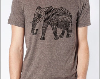 Elephant Tapestry Graphic Design Animal T shirt Clothing Red or Black ink American Apparel Tee Tshirt  9 Colors Full Spectrum Apparel
