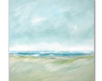 "Painting Acrylic Original, Aqua Sea Breezes,Coastal Abstract Seascape- 20"" x 20"""