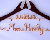 Wedding Dress Hanger with Colored Wire and Wedding Date,  Bride Hanger, Wedding Gift, Unique Hanger, Bride Hanger