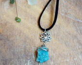 Druzy pendant necklace. Blue Agate Druzy necklace. Druzy gemstone Bohemian necklace. Lotus flower, black Suede cord. Druzy Quartz necklace